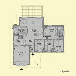 Projekt gotowy budynku mieszkalnego jednorodzinnego parterowego dom 112 rzut parteru