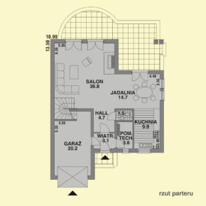 Projekt gotowy budynku mieszkalnego jednorodzinnego piętrowy dom 201 rzut parteru