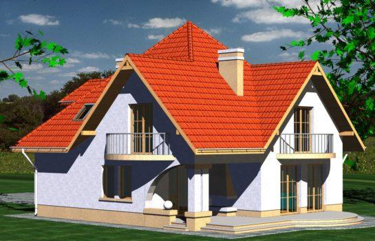 Projekt gotowy budynku mieszkalnego jednorodzinnego piętrowy dom 201 widok 1