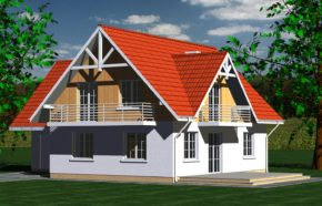 Projekt gotowy budynku mieszkalnego jednorodzinnego piętrowy dom 213