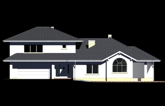 Projekt gotowy budynku mieszkalnego jednorodzinnego piętrowy dom 227 elewacja 1