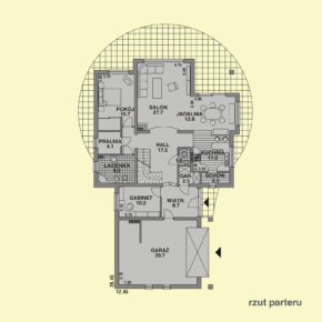 Projekt gotowy budynku mieszkalnego jednorodzinnego piętrowy dom 227 rzut parteru