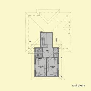 Projekt gotowy budynku mieszkalnego jednorodzinnego piętrowy dom 227 rzut piętra