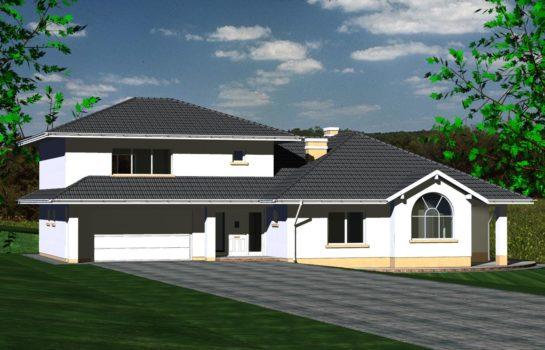 Projekt gotowy budynku mieszkalnego jednorodzinnego piętrowy dom 227 widok 2