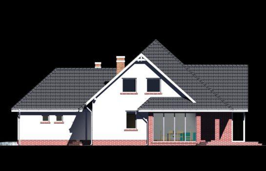 Projekt gotowy budynku mieszkalnego jednorodzinnego piętrowy dom 232 elewacja 2