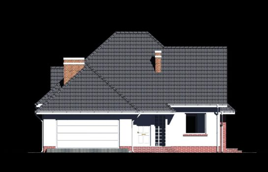 Projekt gotowy budynku mieszkalnego jednorodzinnego piętrowy dom 232 elewacja 3