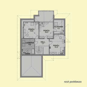 Projekt gotowy budynku mieszkalnego jednorodzinnego piętrowy dom 232 rzut poddasza