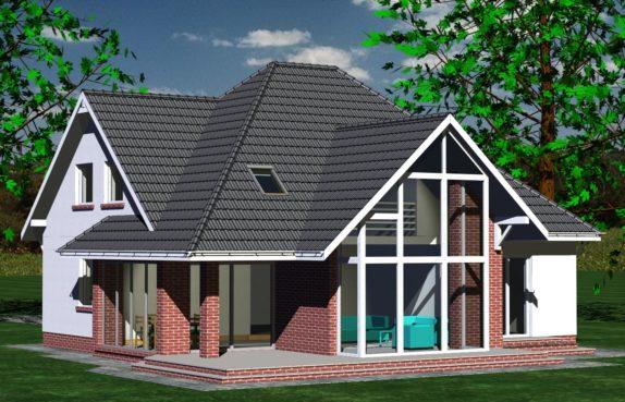 Projekt gotowy budynku mieszkalnego jednorodzinnego piętrowy dom 232 widok 1