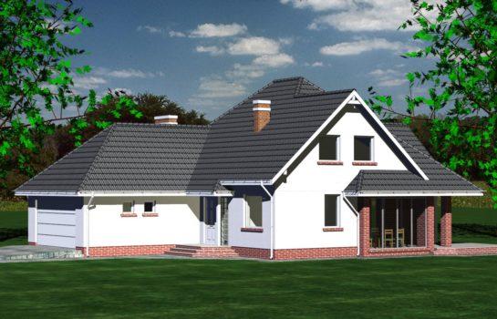 Projekt gotowy budynku mieszkalnego jednorodzinnego piętrowy dom 232 widok 2