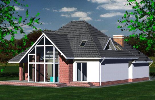 Projekt gotowy budynku mieszkalnego jednorodzinnego piętrowy dom 232 widok 4