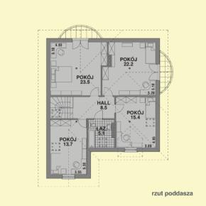 Projekt gotowy budynku mieszkalnego jednorodzinnego piętrowy dom201 rzut poddasza