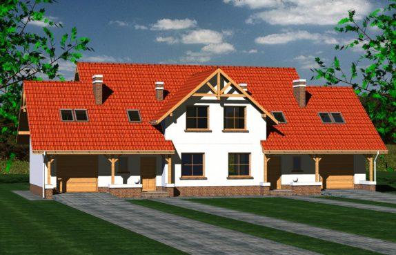 Projekt gotowy budynku mieszkalnego w zabudowie bliźniaczej piętrowy dom 601 widok 1