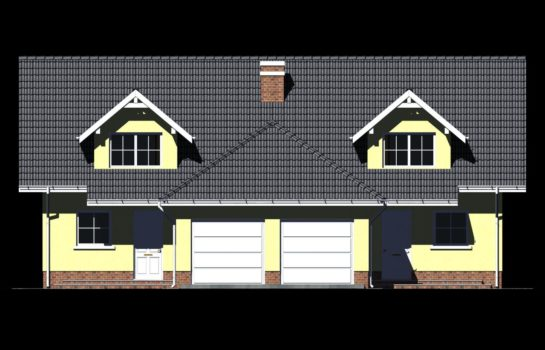 Projekt gotowy budynku mieszkalnego w zabudowie bliźniaczej piętrowy dom 605 elewacja 1