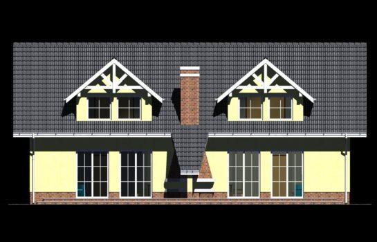 Projekt gotowy budynku mieszkalnego w zabudowie bliźniaczej piętrowy dom 605 elewacja 2