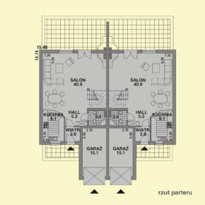 Projekt gotowy budynku mieszkalnego w zabudowie bliźniaczej piętrowy dom 605 rzut parteru