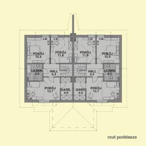 Projekt gotowy budynku mieszkalnego w zabudowie bliźniaczej piętrowy dom 605 rzut poddasza