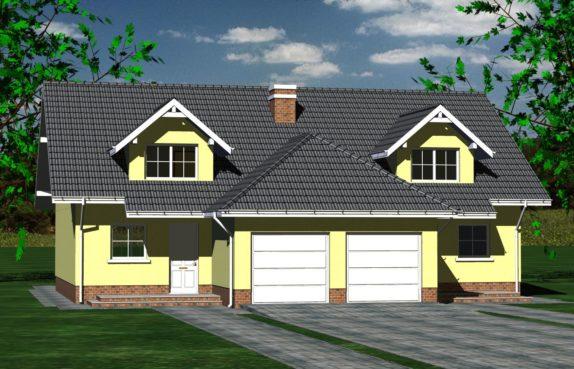 Projekt gotowy budynku mieszkalnego w zabudowie bliźniaczej piętrowy dom 605 widok 1