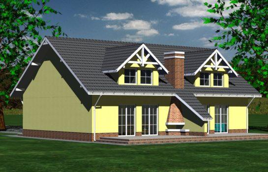 Projekt gotowy budynku mieszkalnego w zabudowie bliźniaczej piętrowy dom 605 widok 2