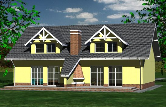 Projekt gotowy budynku mieszkalnego w zabudowie bliźniaczej piętrowy dom 605 widok 3