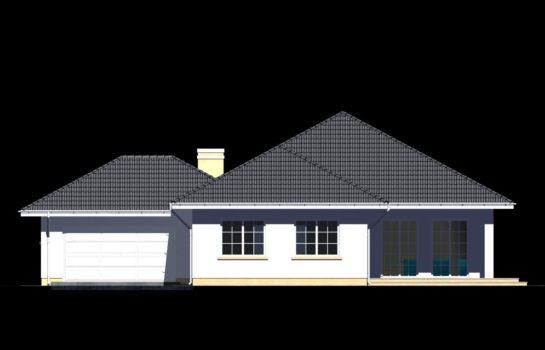 Projekt gotowy budynku mieszkalnego jednorodzinnego parterowego dom 113 elewacja 1