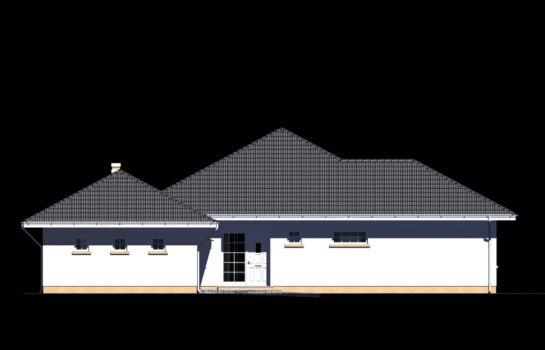Projekt gotowy budynku mieszkalnego jednorodzinnego parterowego dom 113 elewacja 2