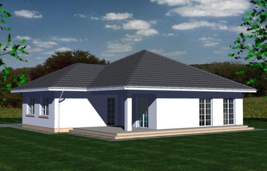 Projekt gotowy budynku mieszkalnego jednorodzinnego parterowego dom 113 widok 2