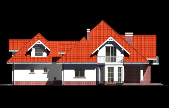 Projekt gotowy budynku mieszkalnego jednorodzinnego piętrowy dom 215 elewacja 2