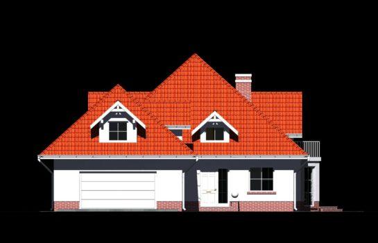 Projekt gotowy budynku mieszkalnego jednorodzinnego piętrowy dom 215 elewacja 3