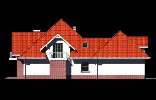 Projekt gotowy budynku mieszkalnego jednorodzinnego piętrowy dom 215 elewacja 4