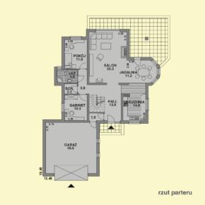 Projekt gotowy budynku mieszkalnego jednorodzinnego piętrowy dom 215 rzut parteru