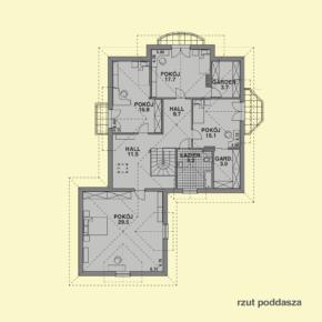 Projekt gotowy budynku mieszkalnego jednorodzinnego piętrowy dom 215 rzut poddasza