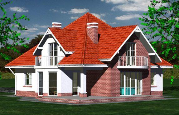 Projekt gotowy budynku mieszkalnego jednorodzinnego piętrowy dom 215 widok 1