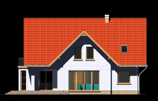 Projekt gotowy budynku mieszkalnego jednorodzinnego piętrowy dom 225 elewacja 3