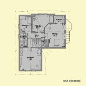 Projekt gotowy budynku mieszkalnego jednorodzinnego piętrowy dom 225 rzut poddasza