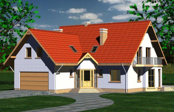 Projekt gotowy budynku mieszkalnego jednorodzinnego piętrowy dom 225 widok 1