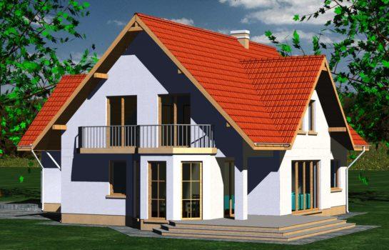 Projekt gotowy budynku mieszkalnego jednorodzinnego piętrowy dom 225 widok 2