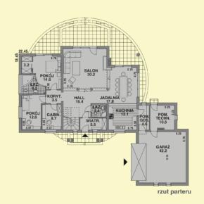 Projekt gotowy budynku mieszkalnego jednorodzinnego piętrowy dom 240 rzut parteru
