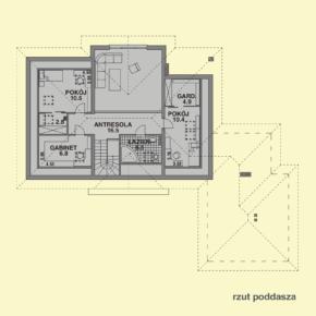Projekt gotowy budynku mieszkalnego jednorodzinnego piętrowy dom 240 rzut poddasza