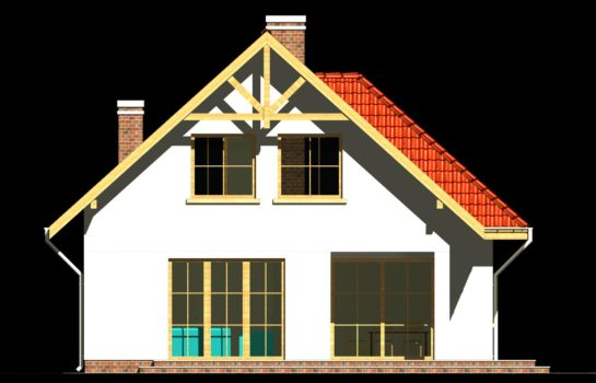 Projekt gotowy budynku mieszkalnego jednorodzinnego piętrowy dom 247 elewacja 2