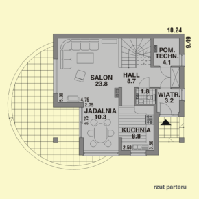 Projekt gotowy budynku mieszkalnego jednorodzinnego piętrowy dom 247 rzut parteru