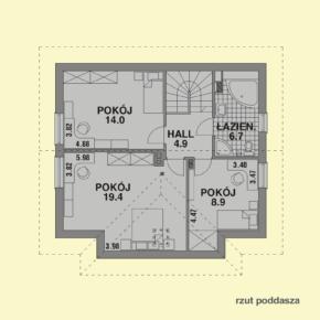 Projekt gotowy budynku mieszkalnego jednorodzinnego piętrowy dom 247 rzut poddasza