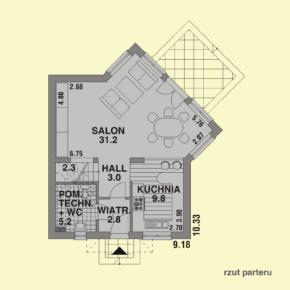 Projekt gotowy budynku mieszkalnego jednorodzinnego piętrowy dom 257 rzut parteru