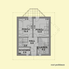 Projekt gotowy budynku mieszkalnego jednorodzinnego piętrowy dom 257 rzut poddasza